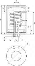 Бойлер със серпентина Sunsystem 80л., 2kW, хоризонтален, емайлиран, малък диаметър